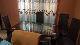 Brown Glass And Leather Dining Table - 4-seater