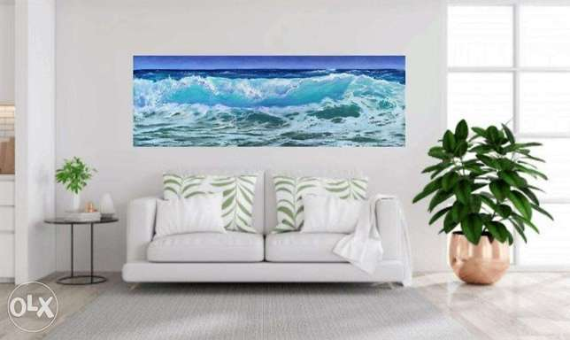 Big sea wave, oil painting, decor for home