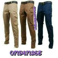 Slim fit khakis for men.