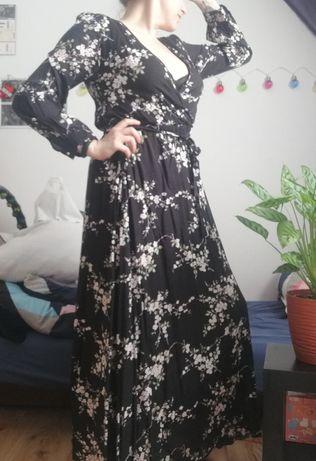 Sukienka maxi długa do ziemi floral w kwiaty nowa czarna z