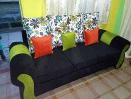 Sofa three seater pillows are stuffed with fibres