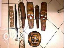 7 African wooden masks