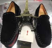 Christian Louboutin low black suede sneakers