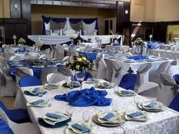 Chair covers table cloths Draping function hire Catering decor