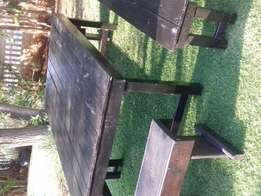 Patio table and 4 benches