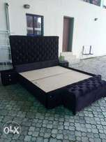 6 by 6 Black Velvet upholstered Bed frame set 2