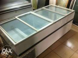 Large glass top island freezer and freezer room for sale