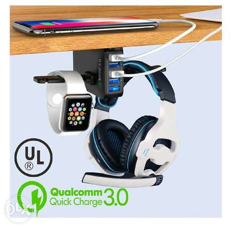 Headphone Stand with USB Charger ستاند سماعة وشاحن موبايلات أمريكي