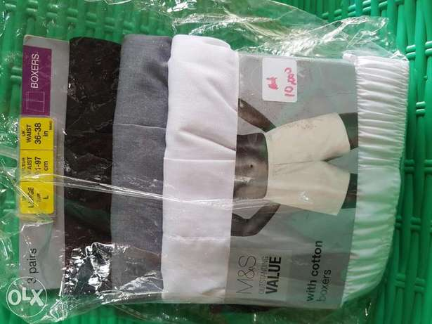 Marks&spencers loose boxers 3 in a pack.white,grey&black.100%cotton Ibadan South West - image 1