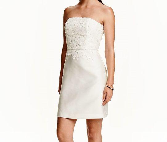 5f0d8ada99 Biała sukienka ślubna z koronkową górą krótka XS 34 32 ślub cywilny Tarnów  - image