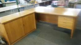 OAK Solid Desk with 3 drawers and solid OAK Cabinet that match set