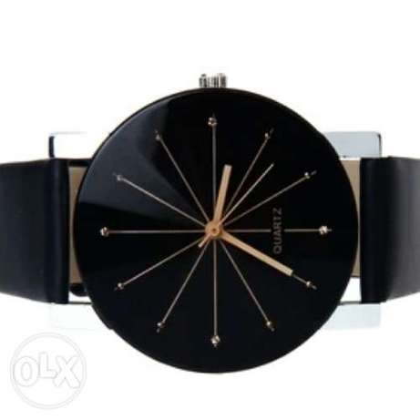Black Genuine leather quartz wristwatch Ojo - image 3