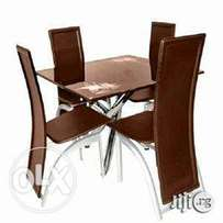 Superb awesome brown four seaters dining table set