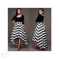 Black Striped O-Neck Half Sleeve Two Piece Suit Asymmetrical Dress