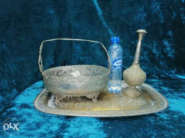 Very beautiful silver plated brass set, dish, sprinkler and perfume bo