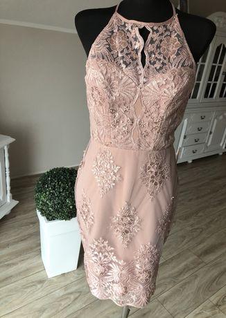 914a3a47 Nowa sukienka 38 M ołówkowa koronka cekiny pudrowy brudny róż ...