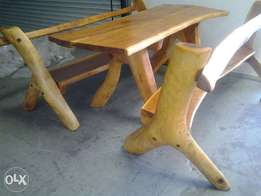 yellow wood patio table with benches,stunning and rare