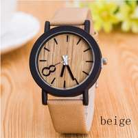 Wooden Quartz Watches unisex Casual Wooden Color Leather Strap Watch