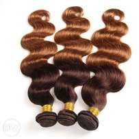 2 Tone Hair Brazilian Virgin Weft 3 Bundles Medium Brown/Medium