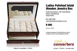 Ladies Polished Inlaid Wooden Jewelry Box
