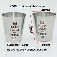 10PCS/LOT custom logo of 25 ml stainless steel cups