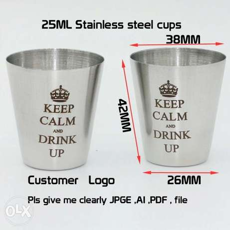 10PCS/LOT custom logo of 25 ml stainless steel cups Mountain View - image 1