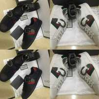 Gucci Sneakers with Buckle Black and White