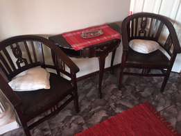 Antique halfmoon table & chairs set