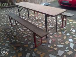 catering foldable table plus 2 foldable benches