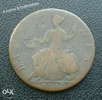 1740 British King George half penny