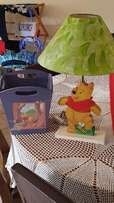 Winnie the Pooh lamp and dustbin