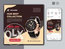 design your ecommerce watches social media banner, flyer, post