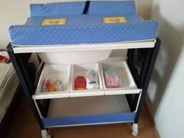 Mobile baby bath and nappy changer in good condition for sale