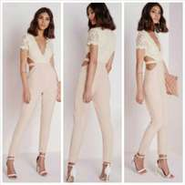 Lace top jumpsuit with side cut outs