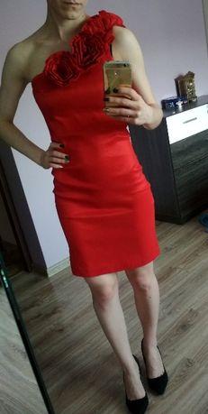 28f573084d Archiwalne  Sukienka czerwona na jedno ramię