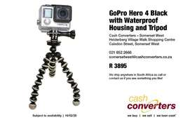 GoPro Hero 4 Black with Waterproof Housing and Tripod