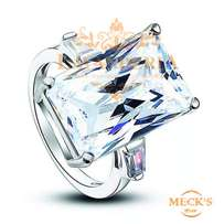 Rectangle Cut Cubic Zirconia Genuine silver Engagement ring