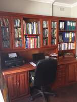 Rosewood desk and bookcase unit