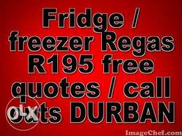 Fridge REGASSING R 195 - all areas covered free quotes