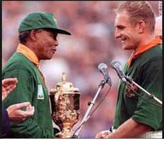 RUGBY World Cup 1995 jersey signed by Nelson Mandela