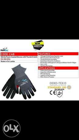 VaUltEx CodE:cAb, NitRile foAm cOAtEd GLovES wiTH tHumB crOTcH
