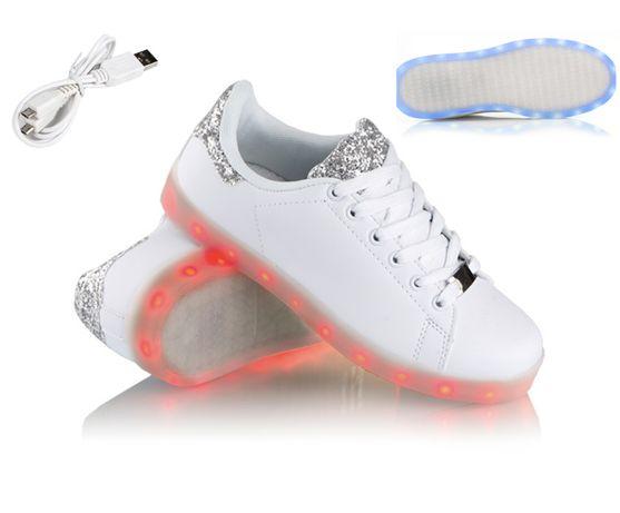 Buty świecące LED niskie z brokatem Ledowe Podświetlane
