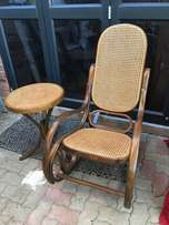 Bentwood rocking chair and side table