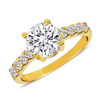 yellow gold plated with white cubic zirconia round shaped ring
