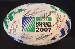 RUGBY WORLD CUP 2007 ball signed by Springboks and Nelson Mandela