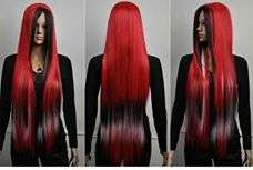 Long Red and Black Wig