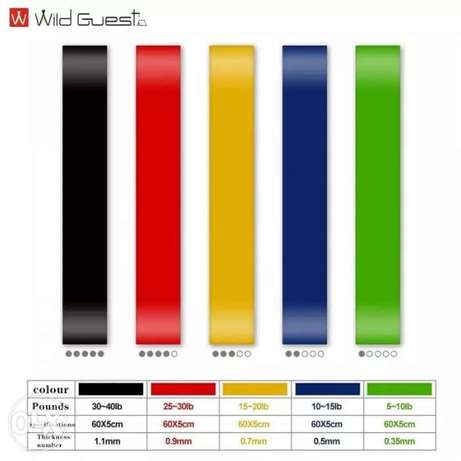Five colors fitness resistance band Yoga for 65.000L.L