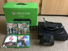 Xbox one 500gb + 4 games, 1 controller