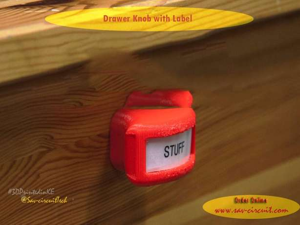 3D printed Drawer Knob with Label Kapenguria - image 2