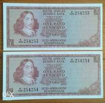 x2 Uncirculated R1 notes (consecutive serial nrs)